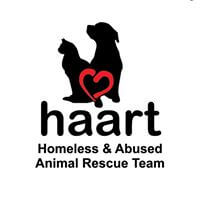 Homeless & Abused Animal Rescue Team (HAART) Logo that shows a dog and cat sitting together and a love heart, symbolising the care HAART has for animals